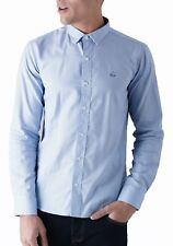 Duck and Cover Men Cotton Shirt Slim Fit Casual Long Sleeve Oxford Birch Fashion M Blue