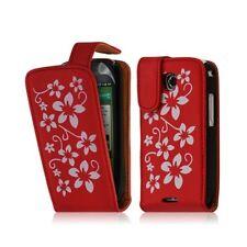 Housse coque étui pour Samsung Galaxy Teos i5800 motif fleurs couleur rouge + fi