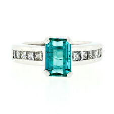 Platinum 2.38ctw Emerald Cut Green Tourmaline Solitaire & Princess Diamond Ring