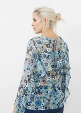 Mango Ruffles Printed Blouse Blue Size UK 22 rrp £59.99 DH088 LL 15