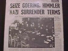 VINTAGE NEWSPAPER HEADLINE ~WORLD WAR 2 ENDS GERMANY NAZI SURRENDER TERMS WWII~