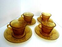 Vintage Indiana Glass Tiara Amber Sandwich Tea Cup and saucer Set Of Four