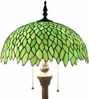 Floor Lamp with Green Stained Glass Lampshade