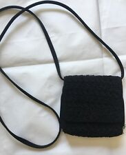 LIMITED Black Square Crossbody Crochet Organizer Shoulder Handbag Purse