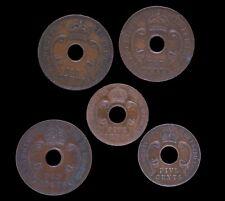 5x British East Africa Pièces de Monnaie, 10 Centimes: 1935, 1937 X 2; 5 centimes: 1941, 1942.
