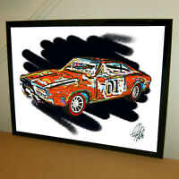 General Lee 1969 Dodge Charger Dukes of Hazzard Car Racing Poster Print 18x24