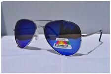 Mens Womens Large Polarised Aviator Mirror  Polarized Sunglasses 005 Blue