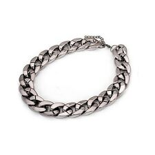 Silver Gunmetal Chained Link Punk Retro Chunky Costume Jewellery Necklace