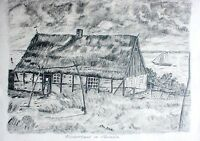 Erwin Rehschuh  - Bleistiftzeichnung 1979:  FISCHERHAUS IN NARMELN (Pommern)