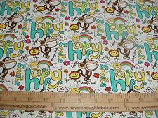 COTTON Fabric Babi Jack by Bobby Jack Monkey HAPPY on WHITE BTY