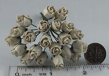 "Mulberry Paper Flower Tiny Hip Rose bud Off White 7/16"" handmade for doll house"