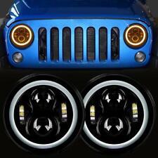 "2Pcs 7"" inch Round LED Black Headlight White Halo Angel Eye Fit Jeep JK TJ LJ CJ"