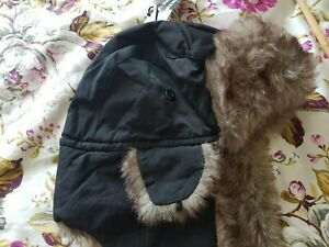 Mens womens Black WINTER TRAPPER faux fur trimmed hat Brand new with tags