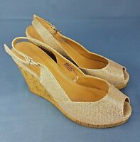 Fiore Womens Wedges Gold Metallic Sandals UK Size 5