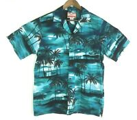 RJC Mens Large Green Hawaiian Short Sleeve Button Down Casual Camp Shirt EUC