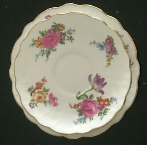 AYNSLEY Bone China - Saucer & Tea Plate Replacement Pieces - Floral Design - VGC