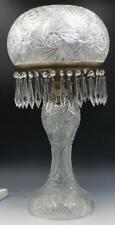 Lg C1900 American Brilliant Cut Crystal Glass Table Lamp Mushroom Shade w/Prisms