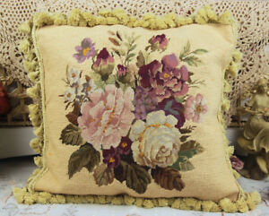 """16"""" Antique Vintage Full Floral Hand Stitched Beautiful Needlepoint Pillow #2"""