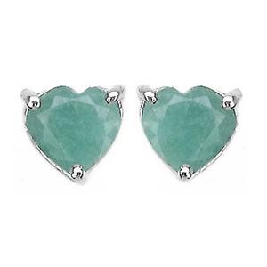 Ohrringe/Ohrstecker Cleo, 925er Silber, 1,85 Kt. echter Smaragd, 6x6 mm Herz