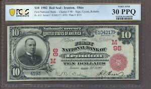 1902 $10 RED SEAL FNB Ironton OH #98 FR-613 *PCGS 30 PPQ*