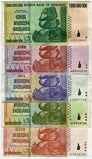 Zimbabwe 50 20 10 5 1 Billion Dollars banknotes 2008 full set VF currency bills