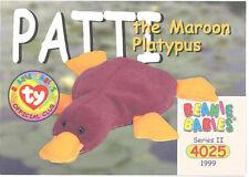 Ty Beanie Babies Bboc Card - Series 2 Common - Patti the Maroon Platypus - Nm/M