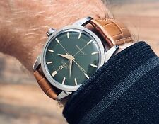 Omega Seamaster Green Dial Face Crosshair Steel Mens Vintage 1954 serviced watch