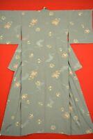 Vintage Japanese Silk Antique BORO KIMONO Kusakizome Dyde Textile/YK23/970