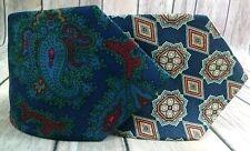 Vtg Burberry Silk Repp Neck Ties Paisley Geometric Floral Hand Made England USA