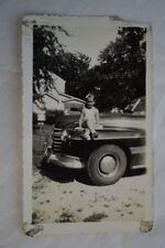 Vintage Car Photo Cute Girl w/ 1941 Oldsmobile 843