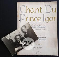 CHANT DU PRINCE IGOR SOUPAULT Alexandre ALEXEÏEFF D'Ursel Photo + Eau-forte 1950