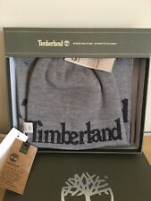 🎁Timberland 💯%Authentic Gray Beanie Hat and Scarf Reversible Gift Set Fast Shp