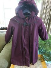 Vtg Rothschild Girls sz 6 Purple Long Lined Dress Coat w/Hood Cotton/Poly blend