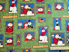 "Wintertime Snowman Friends Grn Christmas Teresa Kogut Fabric  23"" Repeat #26989"