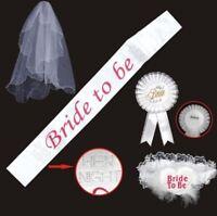 Bride To Be WHITE Rosette Badge,Sash,Garter,Veil Hen Night Bachelorette Party Do