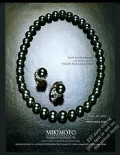 1981 Mikimoto black cultured pearls pearl necklace photo vintage print ad