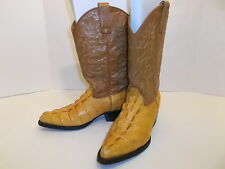 JE-VER BOTAS Alligator Tail Leather Cowboy Boots Men's 6 Tan   NICE!!
