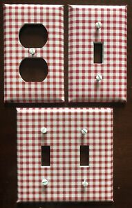 Red White Light Switch Cover Plates Gingham Checkered Country Kitchen Wall Decor