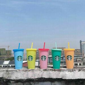 5PCS Starbucks Logo Reusable Plastic Cold Cup with Straw, 24 fl ozNew UK