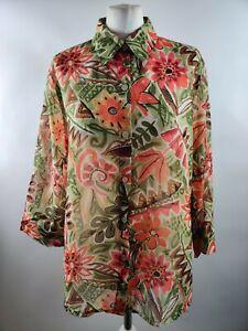 Vintage Women Blouse Shirt Top UK 14 Floral Print Retro Long Collar Button L