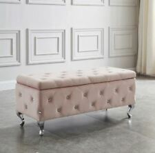 """Monique"" Storage Ottoman Diamond Crystal Tufting in White Faux or Blush Pink"