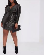 River Island Plus gold mirror dot sequin bodycon dress Size Uk 24
