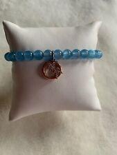 Michael Kors Rose Gold FULTON Pave MK Charm Blue Beaded Pullye Bracelet MKJ6578