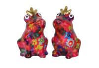 Pomme Pidou Salz & Pfeffer Streuer Frosch Theo Keramik rot mit Blumen