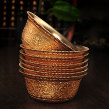 Tibet Buddhism Offering Water Bowl cup Copper Eight Auspicious Symbols  6.8cm
