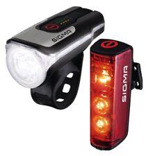 SIGMA Beleuchtungsset FL Aura/ RL Blaze schwarz mit Bremslichtfunktion 80 Lux