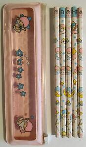 Vintage 1976 Little Twin Stars Sanrio Pencil Set in Plastic Zip Case