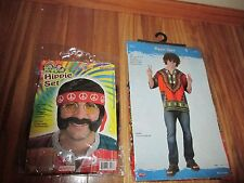 Hippie Set Halloween costume Wig, Sideburns,mustache,glasses,headband,Shirt