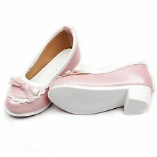 [PF]122# Pink Mid Heeled Bowite Synthetic Leather Shoes 1/4 MSD AOD BJD Dollfie
