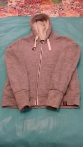 Women's SUPERDRY Orange Label Sherpa Luxe Grey Zip Up Hoodie Fur Lined - Size S